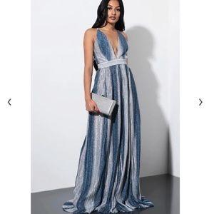 Plunging Sparkling Maxi Dress